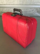 Vintage Travel Laundry Red Suitcase Made in Canada Miniature Small Doll Size Toy