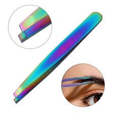 Chameleon Rainbow Stainless Steel Slant Eyebrow Tweezer Remover Clip Makeup Tool