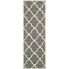 Hand-Tufted Safavieh Dark Grey / Ivory Wool Runner 2' 3 x 9'
