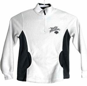 Harley Davidson Baton Rouge La Women's Size M White Fleece Pullover 1/4 Zip 2007
