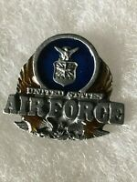 Vintage Pewter Enamel United States AIR FORCE Lapel Pin USAF Badge