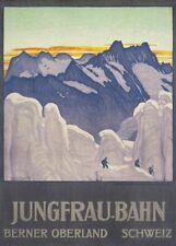 Vintage Ski Poster JUNGFRAU-BAHN, Swiss, 1910 by Emil Cardinaux, A3 Travel Print
