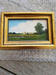 Robert Hughes R.M.S. (1937-2010) Bolton Abbey  Miniature Landscape Oil