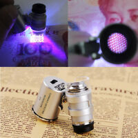 1PC 60X Magnifying Loupe Jewelers Pocket Magnifier Loop Eye Coins Led Light