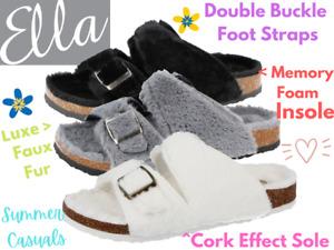 Ladies Faux Fur Fluffy Open Toe Buckle Cork Slip On  Flip Flops Sandals Slippers