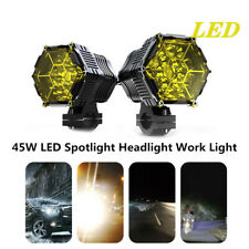 2X 45W LED Spotlight Headlight Work Light Driving Fog Spot Lamp W/Button Switch
