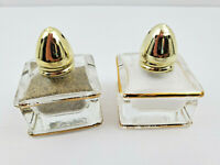Vintage Clear Glass With Gold Trim Individual Salt & Pepper Shakers