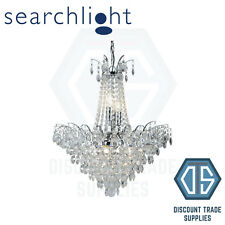 9071-52CC SEARCHLIGHT LIMOGES CHROME 6 LIGHT CHANDELIER WITH CRYSTAL STRINGS