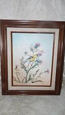 VINTAGE OIL PAINTING ON CANVAS BIRD SITTING ON WILDFLOWERS WOOD FRAME SIGNED