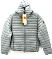 Save The Duck Mens Large Gray Giga Down Ultralight Puffer Hooded Jacket NWT