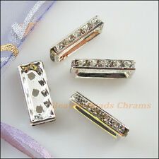 4Pcs Silver Plated Rhinestone 3 Hole Rectangle Spacer Bars Connectors 8x19mm