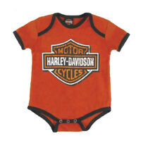 Harley Davidson Infant /& Baby Suit Denim Trousers And An Orange//White Shirt