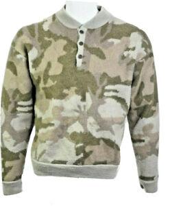 Cabelas Womens XL Wool Over/Under Waterfowl Fatigue Camo Sweater Windshear