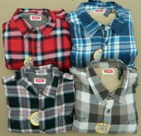 Men's Wrangler Sherpa Lined Relaxed Fit Flannel Shirt - Various Colors & Sizes