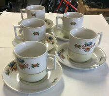 5 Miniature Cup & Saucer Sets W/ Floral Pattern Made in Occupied Japan