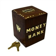 Money Box Jar Wooden Box Cube Money Bank Saving +Keys Sheesham Wood and Brass