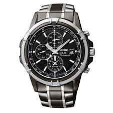 New Seiko Men's Solar Chronograph Black Dial Two Tone Watch SSC143