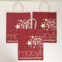 Vintage Macy's Paper Shopping Bags Lot of 3 Making Spirits Bright - Movie Prop