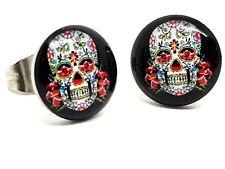 Sugar Skull Stud Earrings Unisex Boho Mexican Tattoo