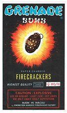 ORIGINAL FIRECRACKER FIREWORKS LABEL GRENADE BOMB BRAND VINTAGE BRICK MACAU 6X10