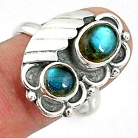 3.15cts Natural Blue Labradorite 925 Sterling Silver Ring Size 8.5 R67336