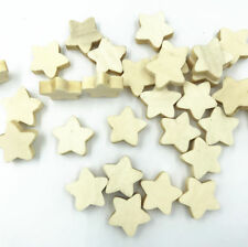 50X Natural color Wood Star Loose Beads Necklace Makeing craft Accessories 20mm