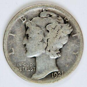 1921 D 10C WINGED LIBERTY MERCURY DIME *MD002
