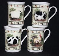 SET OF 4  FINE BONE CHINA FARMYARD COCKEREL PIG COW SHEEP MUGS CUPS GIFT SET