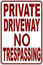 "(4) ""PRIVATE DRIVEWAY NO TRESPASSING"" CORRUGATED PLASTIC SIGN 9""X12"""