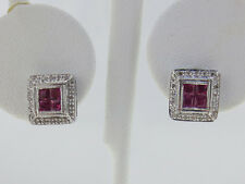 Natural Red Rubies Diamonds Solid 18k White Gold Stud Earrings