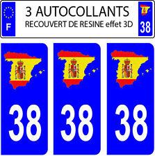 3 stickers plaque immatriculation auto DOMING 3D RESINE DRAPEAU ESPAGNE N° 38
