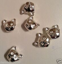10 x Cute Bead charm spacer cat face european shiny silver Wholesale