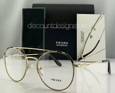 Prada Journal Round Eyeglasses VPR 55U Gold Frame Tortoise Bar UAO-1O1 51mm NEW