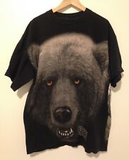 VTG 90s Nature Calls T-Shirt Grizzly Bear All-Over Print Graphic Tee Men's XL