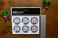 CHRISTMAS WREATH with Words 4cm across Tag Stickers x 6 per Pk - ST90
