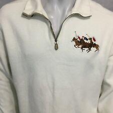 Polo Ralph Lauren Dueling Big Pony Pullover Sweater Sweatshirt half-Zip Sz Large
