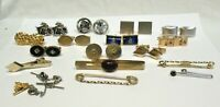 MENS VINTAGE COSTUME JEWELRY LOT GOLD SILVER CUFFLINKS TIE CLASPS