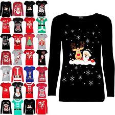 Womens Christmas Reindeer Santa Wall Snowflakes Long Sleeve Ladies  T Shirt Top