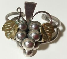 Mexican Sterling Silver Bunch of Grapes Cuff Bangle Bracelet Vintage Mexico