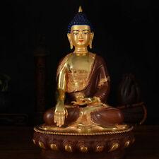 "13"" Old Tibetan Buddhism copper gilt hand painting Shakya Muni Buddha statue"