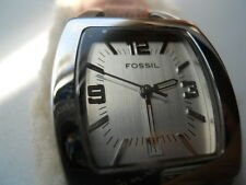 Fossil women's pink leather band,water-resist,quartz,battery & analog used watch