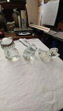 Vintage Crystal Clear Fenton/Swarovski Figurines Bear, Rabbit, Duck Set