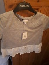 Debenhams Outfit Girls Grey Top With Broderie Anglaise Lace Back And Hem Age 9