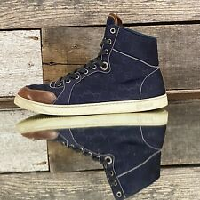 $675 Gucci Nylon Guccissima Navy/Dark Blue High-Top Sneakers Leather Toe sz 8G