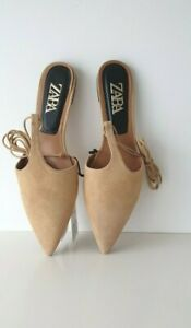 ZARA  SAND BROWN TIED LEATHER T-BAR MULES/SANDALS /FLATS SIZES 4&5&6&7&8
