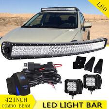 """FOR EURO SUVS! 42"""" 240W OFF ROAD 80-LED SPOT+FLOOD LIGHT ROOF GRILLE BULL BAR"""