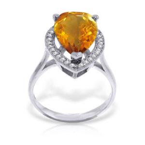 Genuine Citrine Pear Cut Gem & Diamonds Halo Ring 14K Yellow, White or Rose Gold