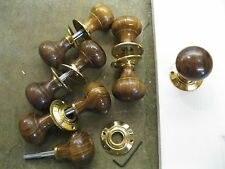 Pair of Victorian Edwardian Reproduction Rosewood Bun Door Knobs & Roses RES4