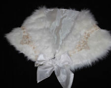 Ivory Faux Fur Cape / Shrug with Gold Lace Trim and Satin Ribbon Tie