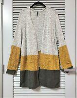 yellow/ grey color block open cardigan 2XL